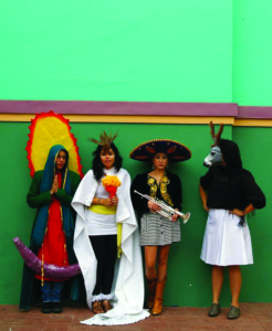 """""""Detail from Becoming the Spectacle: The Virgen de Guadalupe, Aztec Goddess, the Mariachi, and the Donkey Lady, 2011"""" by Más Rudas"""