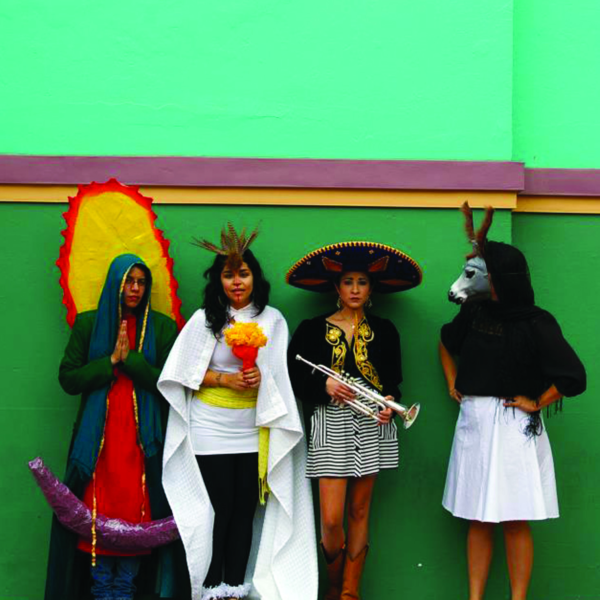 """Detail from """"Becoming the Spectacle: The Virgen de Guadalupe, Aztec Goddess, the Mariachi, and the Donkey Lady"""" (2011) by Más Rudas"""