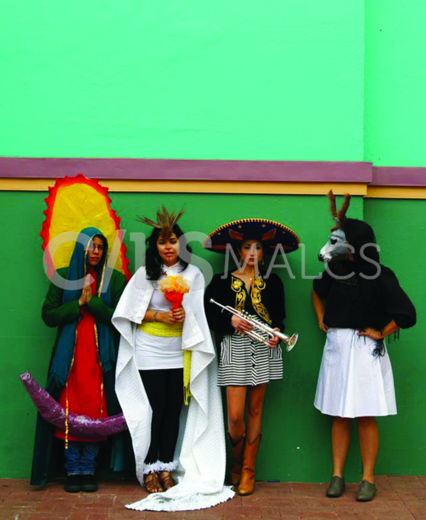 "Detail from ""Becoming the Spectacle: The Virgen de Guadalupe, Aztec Goddess, the Mariachi, and the Donkey Lady"" (2011) by Más Rudas"