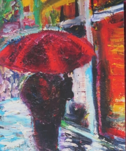 "Detail of ""Red Umbrella"" by Margaret Garcia"