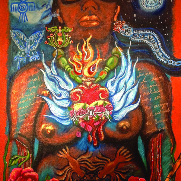 """Detail from """"Mujer"""" (2013) by Debora Kuetzpal Vasquez"""
